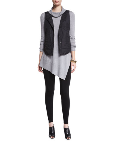 Eileen Fisher Classic Puffer Round Neck Vest, Long-Sleeve