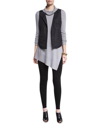 Classic Puffer Round Neck Vest, Long-Sleeve Merino Turtleneck Tunic & Stretch Fleece Leggings, Women's