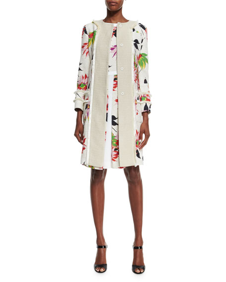 Etro Blossom Long Straight Coat, White