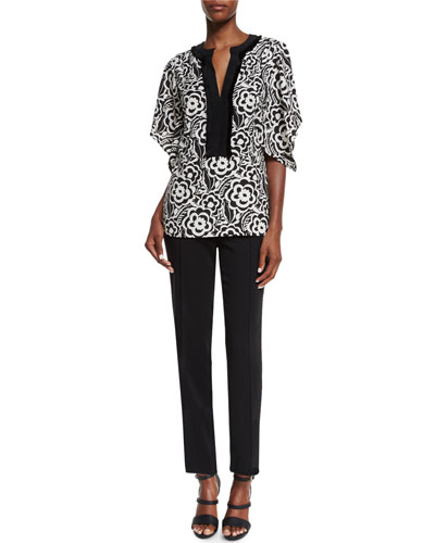 Etro Split-Neck Kimono-Sleeve Blouse & Straight-Leg Cropped Pants