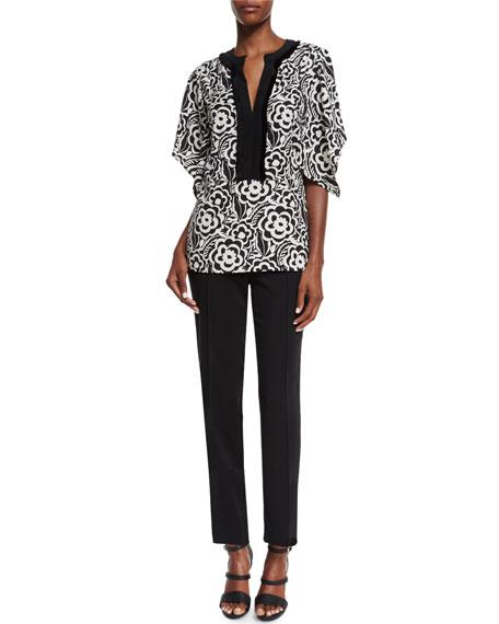 Etro Split-Neck Kimono-Sleeve Blouse, Black/White