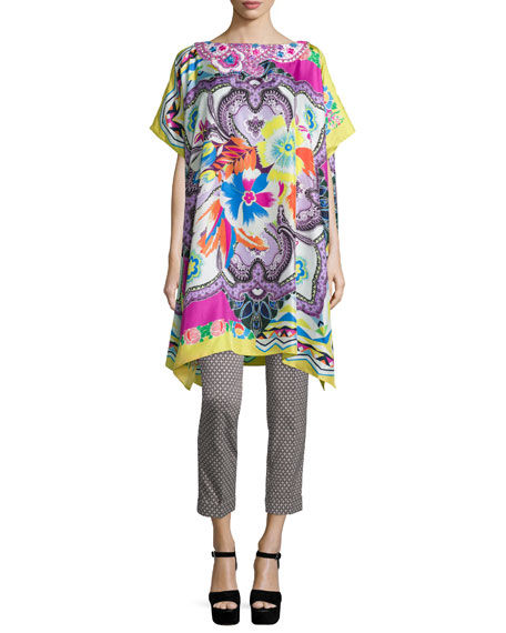 EtroEmbroidered Floral-Print Poncho, Pink/Yellow