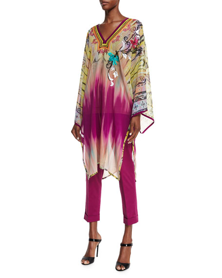 Etro Paisley-Embroidered Dip-Dye Tunic, Yellow/Pink