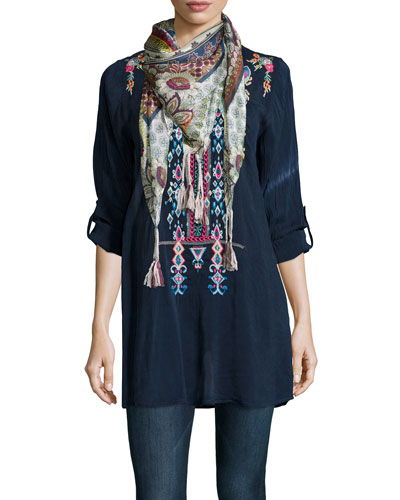 Azten Embroidered Tab-Sleeve Blouse & Endo Printed Silk Tassel Scarf