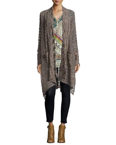 Flowy Drama Crochet Jacket & Endo 3/4-Sleeve Printed Top