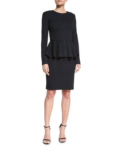 Milano Pique Knit Peplum Jacket & Milano Pique Knit Scoop-Neck Dress