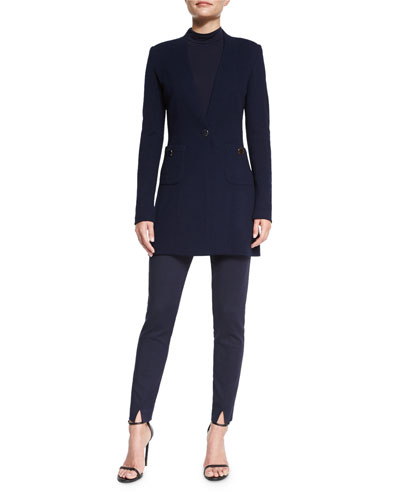 Milano Pique Knit V-Neck Jacket, Mock-Neck Fine Jersey Top & Stretch Micro Ottoman Cropped Pants