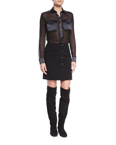 Long-Sleeve Sheer Combo Safari Blouse & Button-Front Mini Skirt