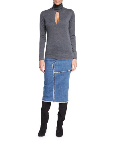 Long-Sleeve Cashmere Top W/Keyhole & Jean Midi Skirt W/Raw Edges