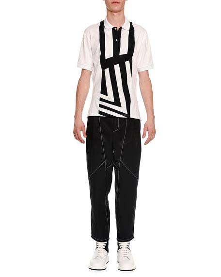 Alexander McQueen Center-Stripe Short-Sleeve Polo Shirt, White/Black