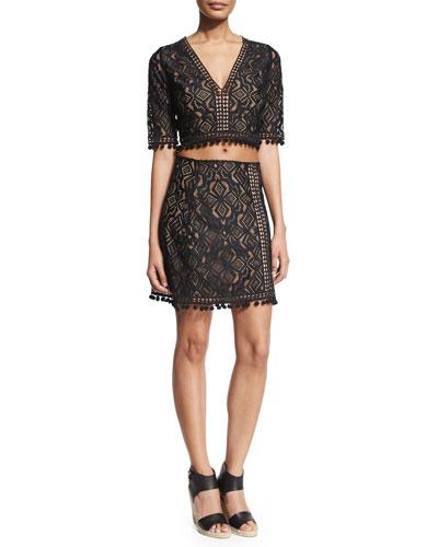 Florence Half-Sleeve Crop Top & Florence Fringe-Trim Lace Skirt