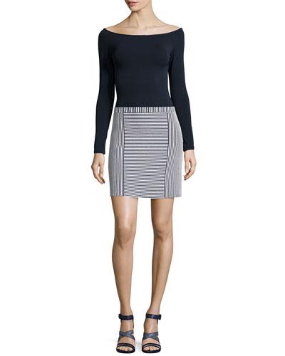 Ennalyn Matte Jersey Top & Teslia Geometric-Striped Knit Skirt