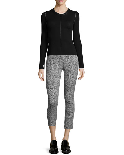 Andee Seamed Pullover Sweater & Simone Leopard-Print Cropped Pants