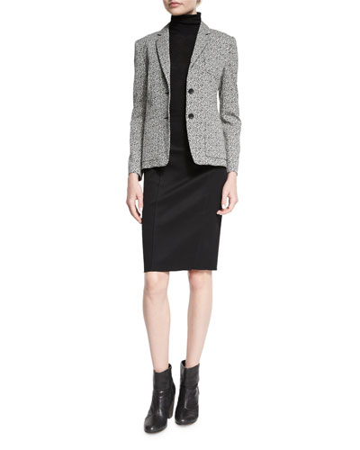 Tera Printed Blazer, Briony Sleeveless Turtleneck Top & Samantha High-Waist Skirt
