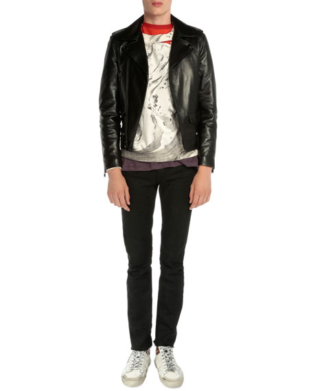 Saint Laurent Asymmetrical-Zip Leather Moto Jacket, Black