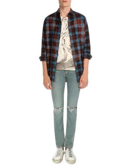 Saint Laurent Plaid Flannel Button-Down Shirt, Blue/Red