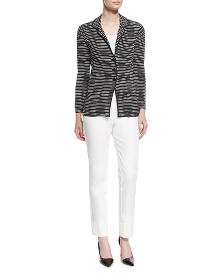Armani Collezioni Striped Three-Button Jacket, Pumice