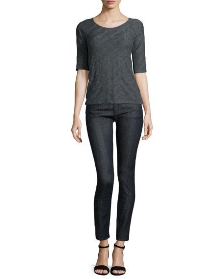 Armani Collezioni Textured-Wave Half-Sleeve T-Shirt, Pumice