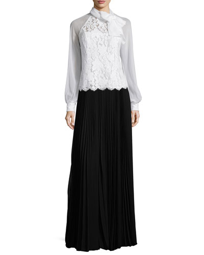 Long-Sleeve Tie-Neck Lace Blouse & Pleated Maxi Skirt