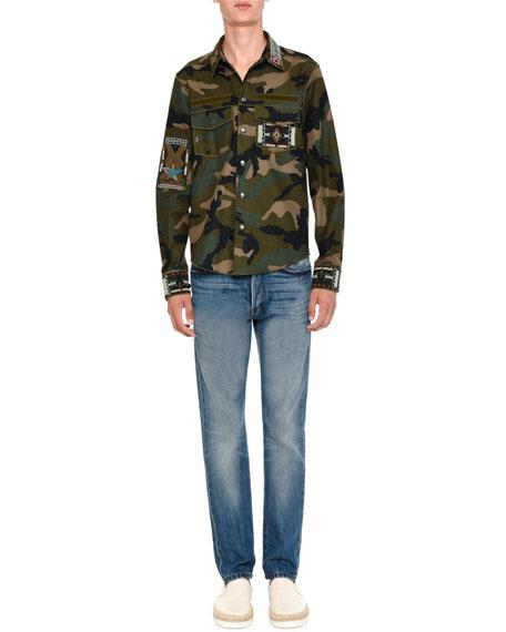 Valentino Camo-Print Long-Sleeve Shirt with Beaded Trim, Green