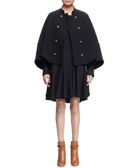 Chloe Mandarin-Collar Double-Breasted Topper Coat, Black