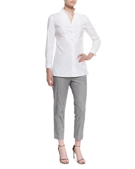 Armani Collezioni Long-Sleeve Button-Front Poplin Blouse, White
