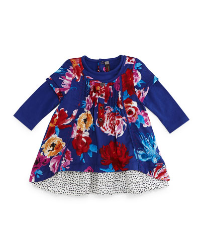 Twill Floral Shift Dress, Royal Blue