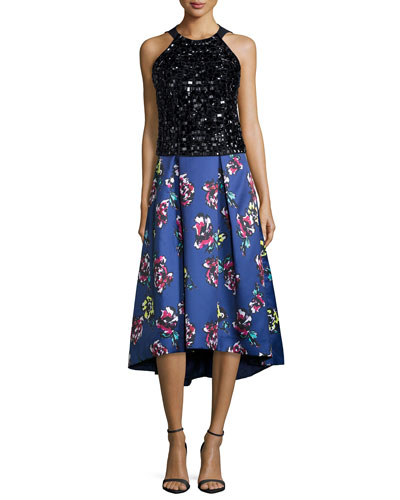 Sleeveless Beaded Halter Top & Midi Floral-Print High-Low Skirt