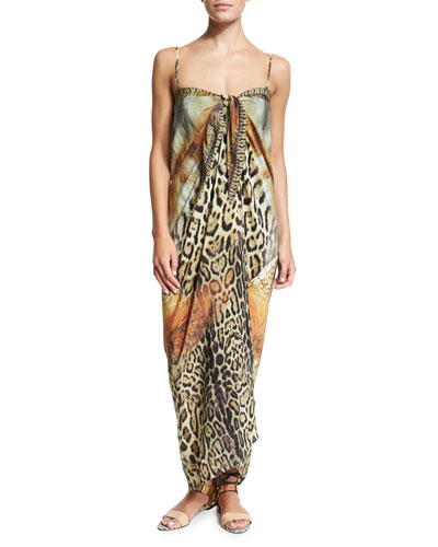 Multi-Print Tie-Front Coverup & El Salvaje Printed One-Piece Swimsuit