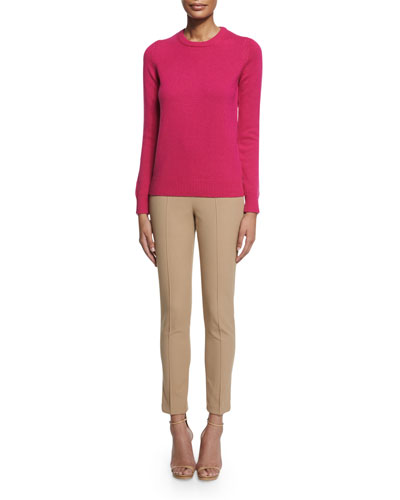Long-Sleeve Jewel-Neck Cashmere Sweater & Mid-Rise Skinny Pants