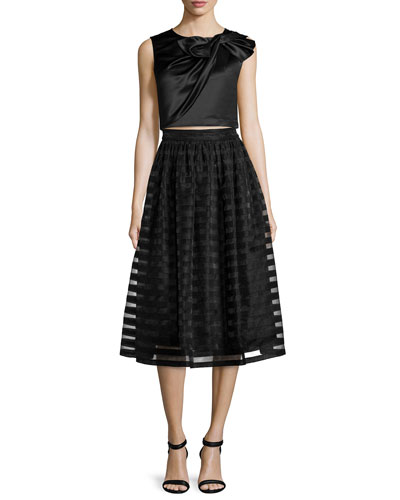 Beau Twisted Bow Top & Quinne Striped Organza Midi Skirt