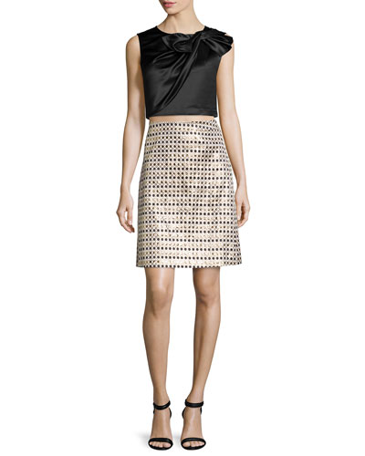 Beau Twisted Bow Top & Nina Metallic Polka Dot Skirt