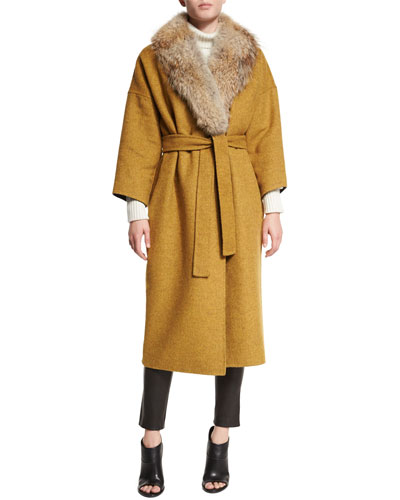 Trench Coat with Fur Collar, Cable-Knit Turtleneck Dress & Leather Ankle Leggings