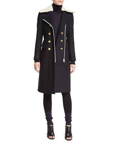 Sullivan Double-Breasted Coat w/Shearling Collar, Jessica Turtleneck Sweater & Kristin Colorblock Knit Leggings