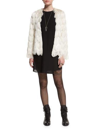 Florin Scalloped Tiered-Fringe Jacket & Felicia Asymmetric Shift Dress
