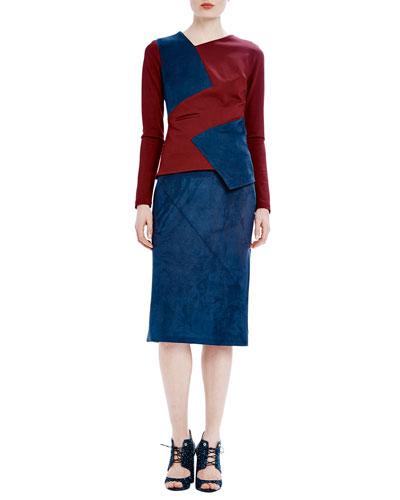 Long-Sleeve Asymmetric Colorblock Tee & Woven Seamed Pencil Skirt