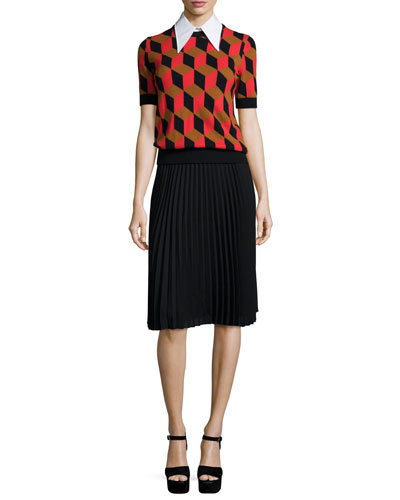 Short-Sleeve Deco-Cube Cashmere Sweater, Turtleneck Dickie & Micro-Pleated A-Line Skirt,