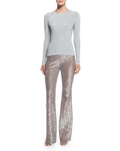 Long-Sleeve Jewel-Neck Sweater & Embellished Flare-Leg Pants