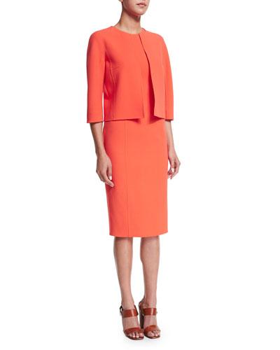 3/4-Sleeve Open-Front Jacket & Sleeveless Jewel-Neck Sheath Dress