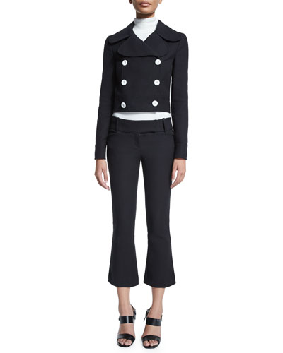 Battle Double-Breasted Cropped Jacket, Long-Sleeve Turtleneck Top & Flare-Leg Cropped Pants