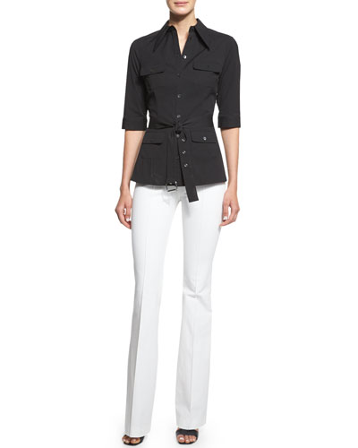 Elbow-Sleeve Belted Utility Shirt & Mid-Rise Flare-Leg Pants