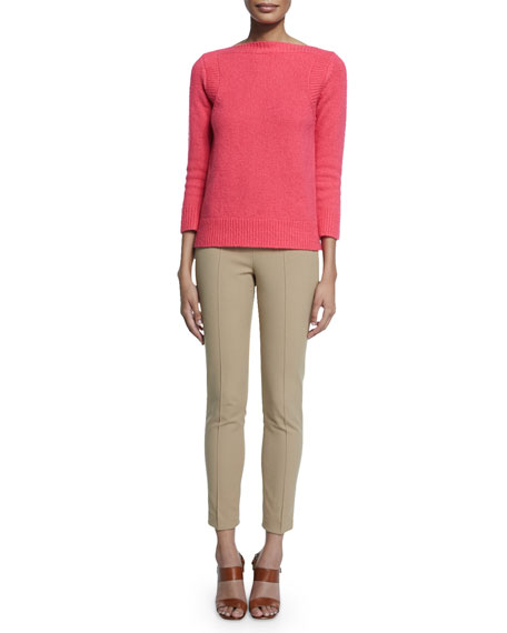 Michael Kors Collection 3/4-Sleeve Boxy Sweater, Watermelon