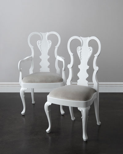 Astrid White Lacquer Dining Chairs