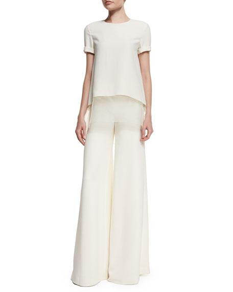 Ralph Lauren Layered-Hem Short-Sleeve Top, Cream