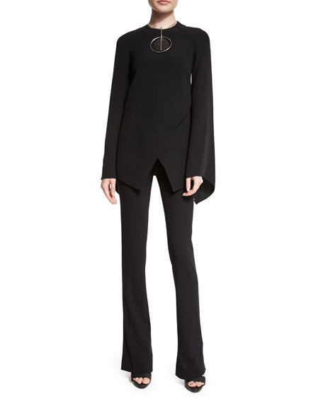 Ralph Lauren Mulberry Silk Cady Long-Sleeve Top, Black