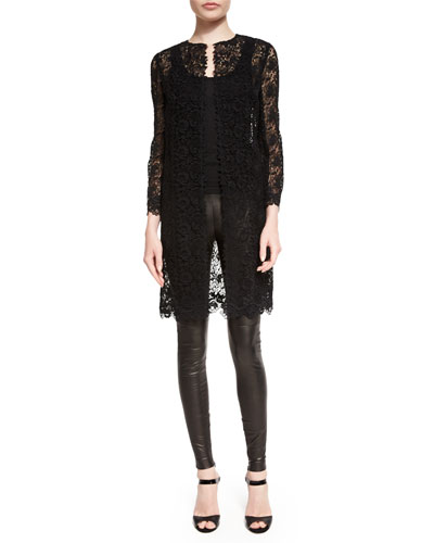 Ralph Lauren Bracelet-Sleeve Guipure-Lace Coat, Scoop-Neck