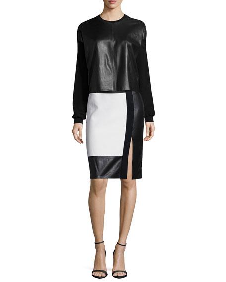 Ralph Lauren Long-Sleeve Boxy Leather/Cashmere Combo Cardigan,
