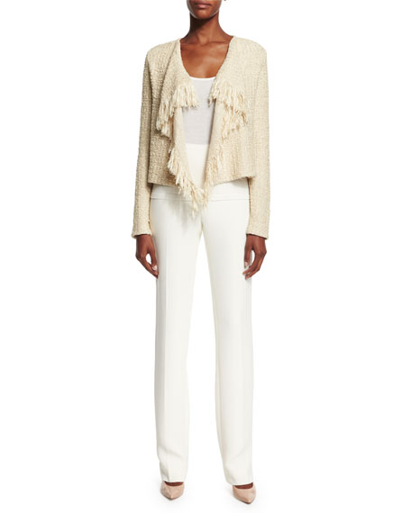 Ralph Lauren Long-Sleeve Draped-Front Cardigan, Sand