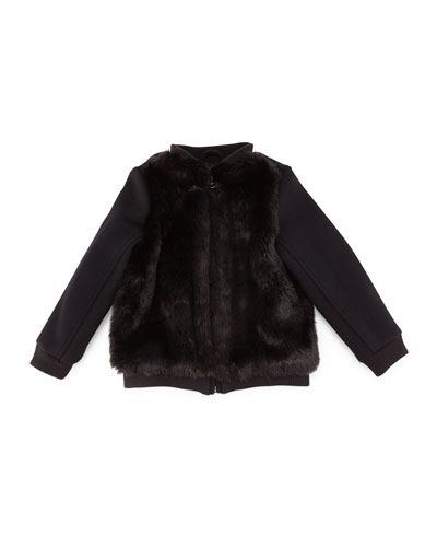 Faux-Fur-Trim Bomber Jacket, Black