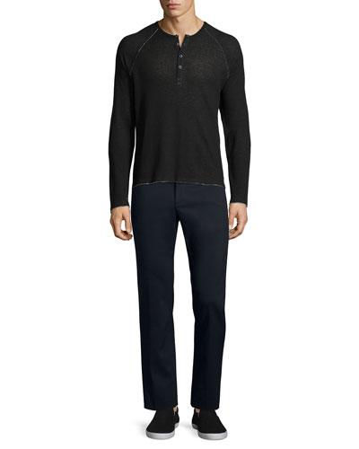 ATM Raw-Cut Raglan Sleeve Henley Shirt & Cotton-Nylon